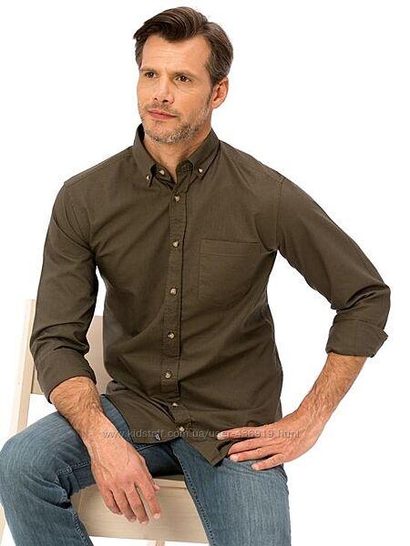 Мужская рубашка цвета хаки LC Waikiki/ЛС Вайкики с пуговицей на воротнике