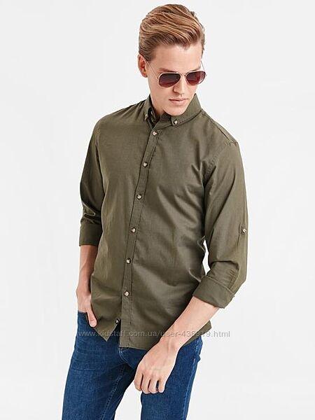 Мужская рубашка LC Waikiki/ЛС Вайкики цвета хаки, с планкой для рукава