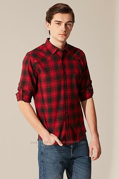 Красная мужская рубашка LC Waikiki/ЛС Вайкики в черную клетку