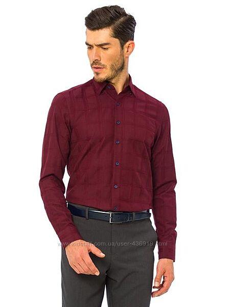 Бордовая мужская рубашка LC Waikiki/ЛС Вайкики в бордовую атласную клетку
