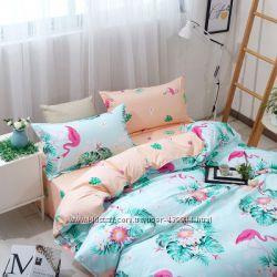 В наличии постельное белье с фламинго