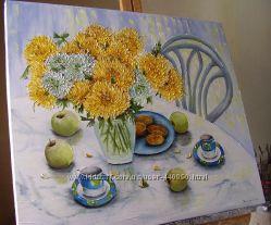Картина маслом Настрій-чаювання 60х70
