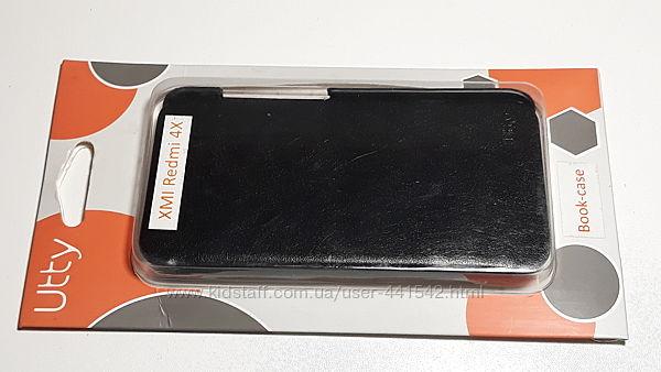 Чехол книжка Utty для Xiaomi Redmi 4X / 4X Pro кожа PU черный в упаковке