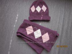 набор шапка шарф 70 шерсть, 20 ангора, 8-10 лет
