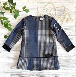 Платье трикотаж в клетку для девочки 92, 98 р-ры