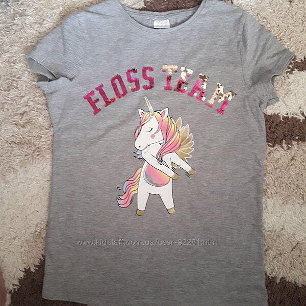 Красивая футболка с  единорогом F&F 11-13 лет