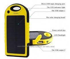 PowerBank - зарядка для телефона с фонариком на солнечной батарее