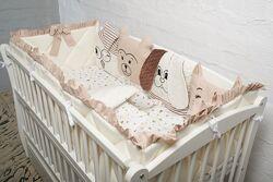 ТОП Бортики в кроватку защита комплект набор детская постель премиум класа