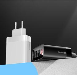 Зарядное устройство Baseus 4 USB Mirror Lake 30W Digital Display