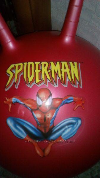 Мяч попрыгун с рожками человек паук красный
