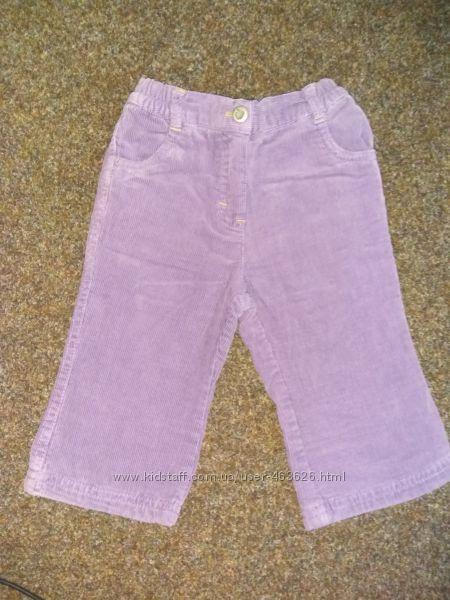Теплые вельветовые джинсы для девочки размер 74