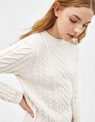 Шикарный светлый свитер в косы  - M - L - XL