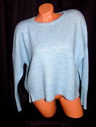 LINDEX  шикарный пушистый - шерсть мохер , голубой свитер оверсайз - M - L