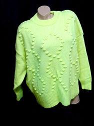 шикарный свитер крупной вязки лимонного цвета  - XL - XXL - XXXL