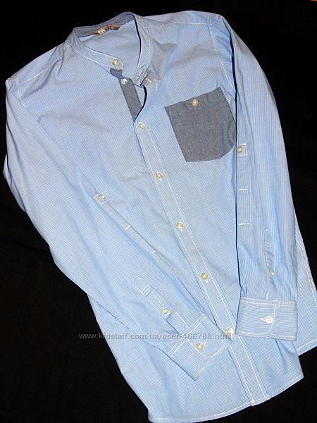 Шикарная рубашка на парня - ворот стойка - 12 - 14 лет