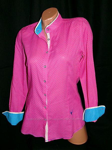 EMILY  Шикарная розовая рубашка в горошек  - S - M