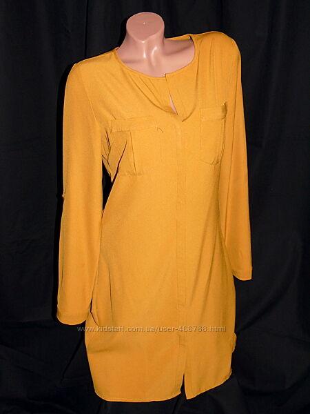 AMISU   Шикарное платье - рубашка горчичного цвета - L - M
