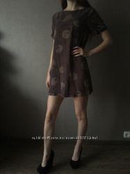 Легкое платье туника пляжное короткое коричневое узоры
