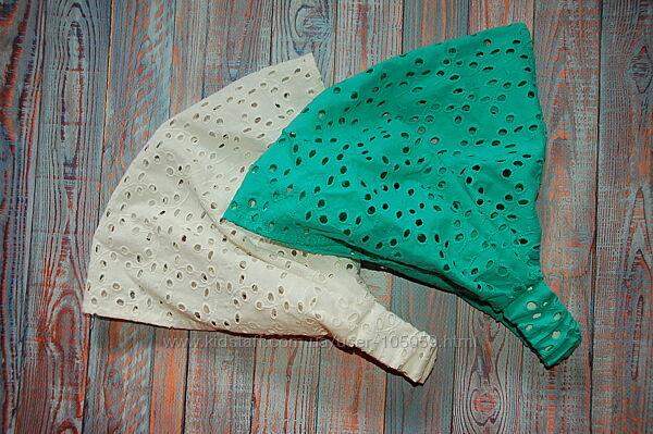 Косинка из батиста кремового и зеленого цвета.