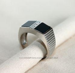 Кольцо из серебра мужское родированное