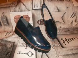 Стильные туфли на тракторной подошве Кожаная стелька