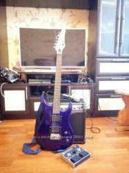 Гитара, комбик, процессор, микрофон, чехол, провода и многое другое