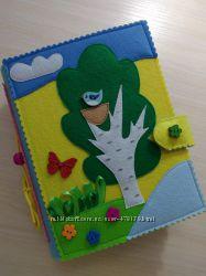 Развивающая книжка из фетра, размер 20 на 15 см, 10 страниц, подарок малышу