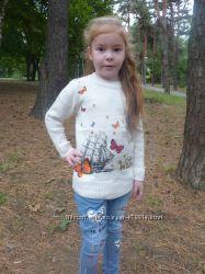 Теплый свитер, Турция, очень красивый,  5-6лет, 7-8лет, 9-10лет