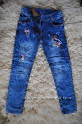 eb1270e1194ca Фирменные джинсы для девочки, аппликация, 95 котон, Sercino, от 6 до 12