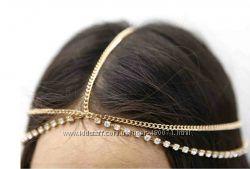 Красивое украшение на голову со стразами Золото