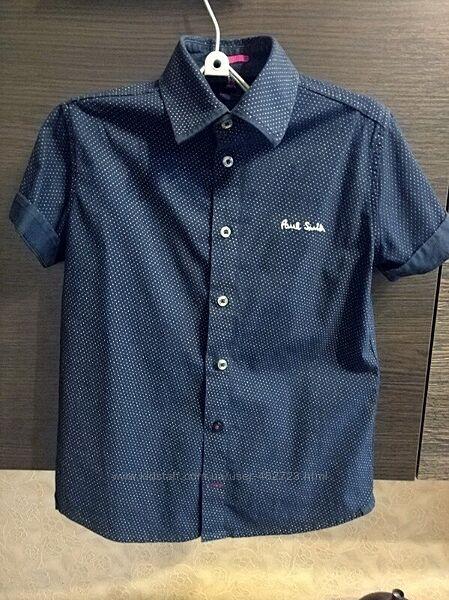 Детская рубашка для мальчика с коротким рукавом р.122-128