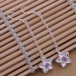 Серьги Цветы, покрытие серебро 925
