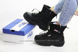 Зимние женские ботинки Fila black