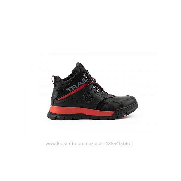 Зимние ботинки Zangak черныес красным, натур. кожа, мех