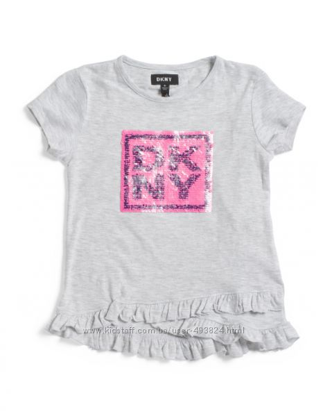 Футболка на девочку, пайетки-перевертыши, DKNY