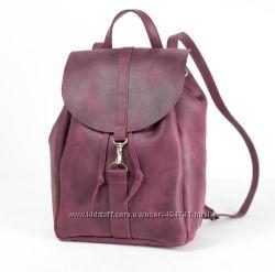 Кожаный рюкзак на затяжках с карабином. Цвета разные. Натуральная кожа.