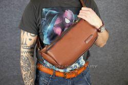 Мужская кожаная сумка-бананка. Разные цвета. Натуральная итальянская кожа