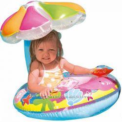 Детский надувной круг-плотик с навесом intex