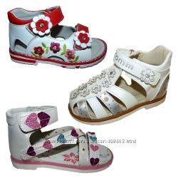 Ортопедические босоножки для девочки, 20-26 разм, каблук Томаса, супинатор