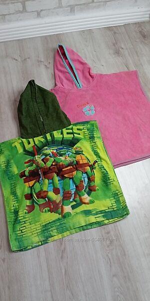 накидка для пляжа деткам 2-4 лет, полотенце-пончо