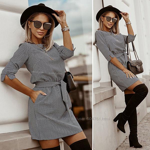Платье мини с поясом с карманами элегантное 203