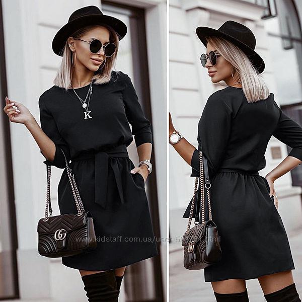 Платье летнее футляр черное с поясом 203