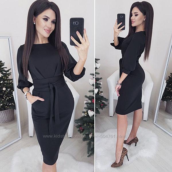 Повседневное платье с карманами черно трикотажное 224