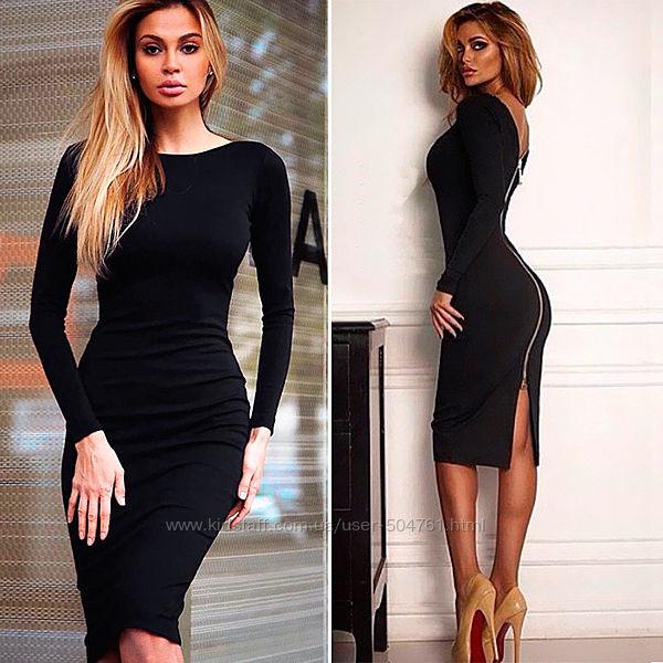 Черное облегающее платье на молнии 189