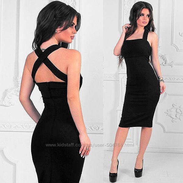 Черное платье открытые плечи приталенное 204