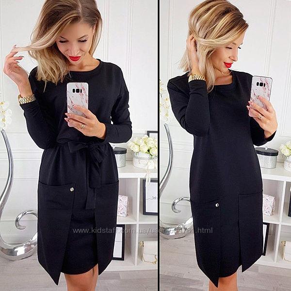Черное платье по колено прямое свободное 195