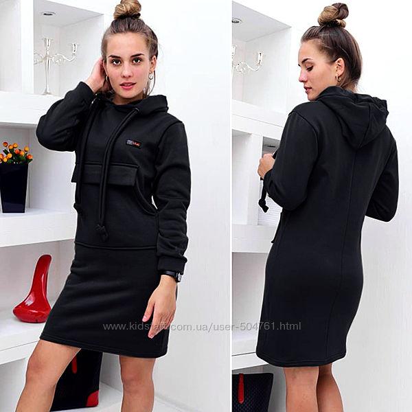 Спортивное платье женское с капюшоном и карманом