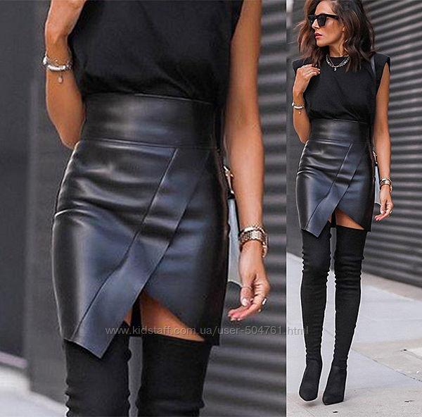 Асимметричная кожаная юбка с высокой посадкой