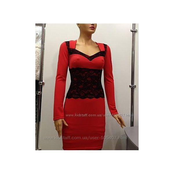платье красное с черной гипюровой вставкой Estrella