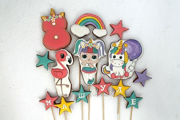 Пряники девочкам кукла лол, Минни, единороги, пони, Пеппа, принцессы